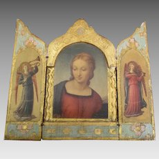 Vintage Italian Wooden Triptych with The Madonna and Angels