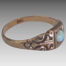 Vintage 14K Rose Gold Opal Ring- Size 7 1/2