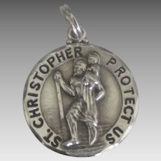 Vintage Sterling St. Christopher Medal Pendant