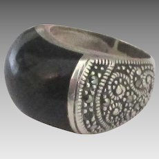 Chunky Sterling Onyx Marcasite Buckle Ring