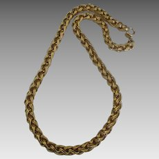 Thick Chunky Signed Gold Tone Necklace