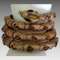 Stunning Rhinestone Long Coiled Snake Bracelet
