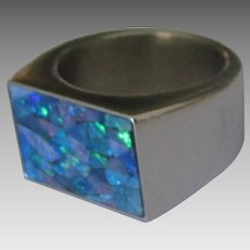 Bold Estate Opal Mosaic Sterling Ring- Size 10