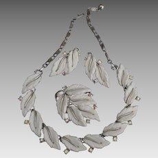 Beautiful Lisner Leaf AB Earrings Necklace Earrings Parure
