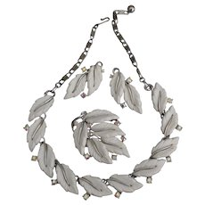 Beautiful Lisner Leaf AB Earrings Necklace Earrings Parure