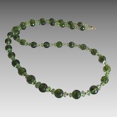 """Beautiful 14K YG Peridot Bead 24"""" Necklace"""