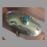 Vintage Signed Navajo Sterling Turquoise Large Concho Ring