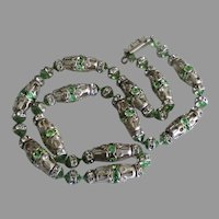 Vintage Peridot Green Rhinestone Silver Tone Necklace