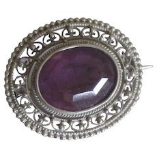 "Vintage Sterling Amethyst Glass ""C"" Clasp Brooch"
