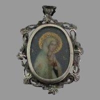Vintage 800 Blessed Mother Portrait Pendant or Brooch