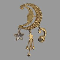 Fantasy Crescent Man in Moon Brooch with Earth and Star Dangles