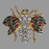Sparkling Enamel Rhinestone Bee Pin