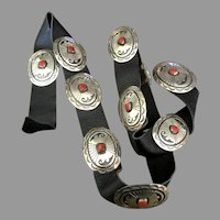 Signed Navajo Sterling Red Coral Concho Belt- 262 grams