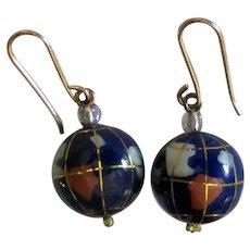 Vintage Enamel World Globe Pierced Earrings