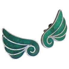 Vintage Sterling Inlaid Glass Earrings
