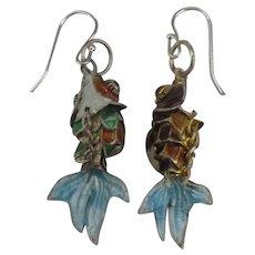 Cloisonne Enamel Segmented Fish Pierced Earrings