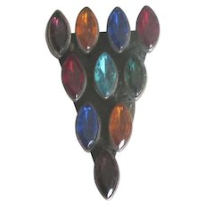 Vintage Jewel Tone Czech Glass Fur Clip