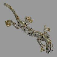Stunning Articulated Rhinestone Lizard Shoulder Brooch