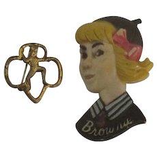 Adorable Vintage Girl Scout Brownie Pins