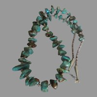 Exceptional Vintage NA Navajo Turquoise Nugget Heishi Necklace