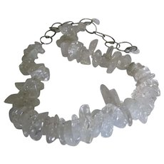 """Fabulous Sterling """"Pools of Light"""" Rock Crystal Necklace"""