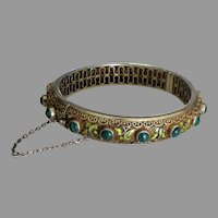 Early 1900's Chinese Gold Overlay Sterling Malachite Cloisonne Butterfly Bracelet