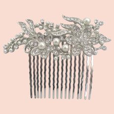 Sparkling Vintage Rhinestone Faux Pearl Hair Comb Ornament