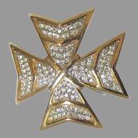 Sparkling KJL Maltese Cross Rhinestone Pave Brooch or Pendant