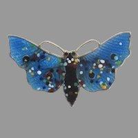 Vintage Enamel Sterling Butterfly Brooch