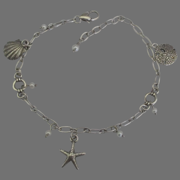 """Sterling Silver Shell Black and White Pearl Charm Anklet Ankle Bracelet 10/"""""""