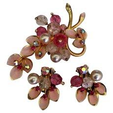 Vintage Kramer Pink Rhinestone Faux Pearls Austrian Set