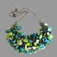 Fabulous Art Glass Turquoise Bib Style Necklace