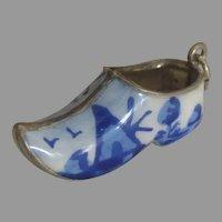 Large Vintage Porcelain Dutch Clog Shoe Pendant or Charm