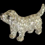 Signed Swarovski Rhinestone Pave Puppy Dog Brooch