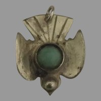 Vintage 1940's Sterling Turquoise Bird Pendant or Large Charm