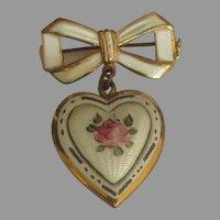 Lovely Vintage Guilloche Floral Heart Locket Brooch