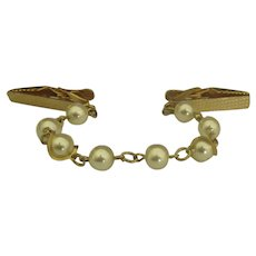 Vintage Gold Tone Faux Pearl Sweater Clip Guard