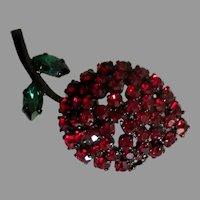 Sparkling Vintage Austrian Rhinestone Strawberry Brooch
