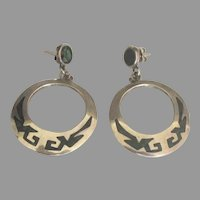 Vintage Taxco Sterling Inlaid Turquoise Pierced Earrings