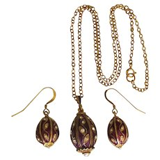 Estate Enamel Gold Washed Sterling Egg Pendant and Pierced Earrings Set