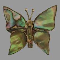 Vintage Eagle Mark Sterling Abalone Butterfly Brooch