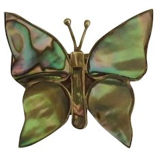 Vintage Eagle Mark Sterling Abalone Butterfly Brooch