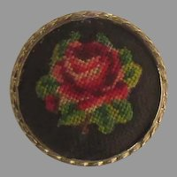 Lovely Petite Point Rose Brooch