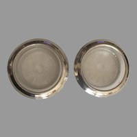 Vintage Whiting & Co Sterling Crystal Coasters (2)