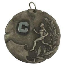 Vintage Enamel Sterling 1924 Running Sports Medal