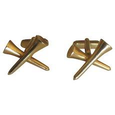Vintage Gold Tone Golf Tee Cuff Links