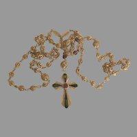 Vintage Sterling Filigree Gemstone Enamel Rosary