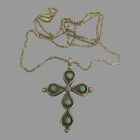 Vintage Navajo Sterling Turquoise Coral Reversible Cross and Chain