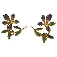 Signed Krementz Enamel Gold Overlay Flower and Leaves Earrings