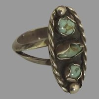 Vintage Navajo Sterling Turquoise Ring- Size 7